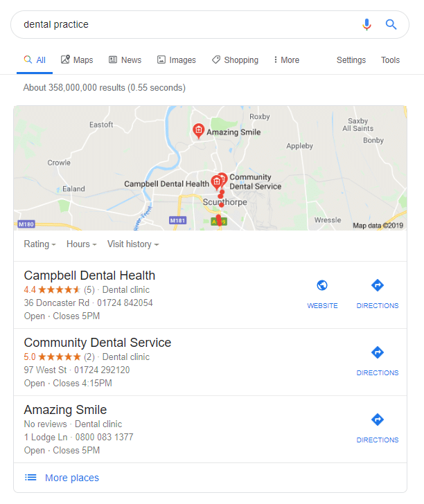 google search for dental practice